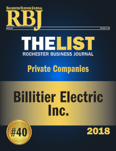 Rochester Business Journal - Billitier Electric #40 on The List